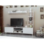 Decorotika Viona 63 Tv Stand Entertainment Center With A Pier And Accent Wall Shelf