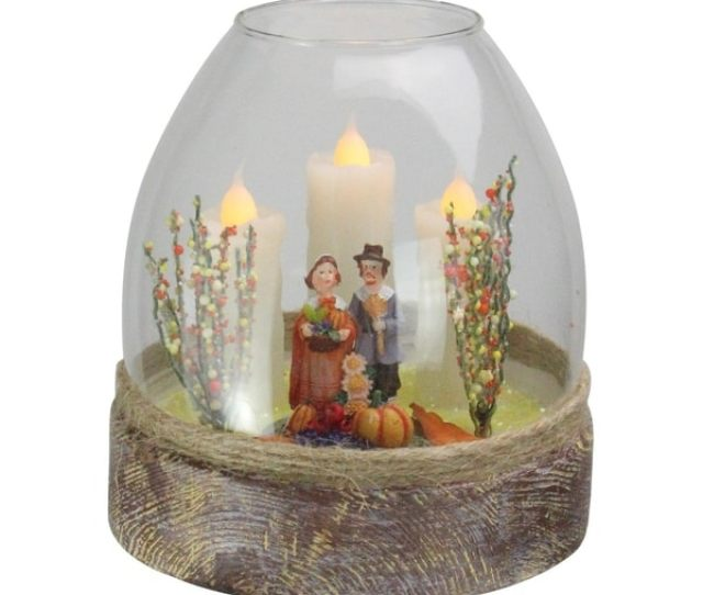 Battery Operated Clear Glass Pilgrim Figurine  Flickering Candle Thanksgiving Jar