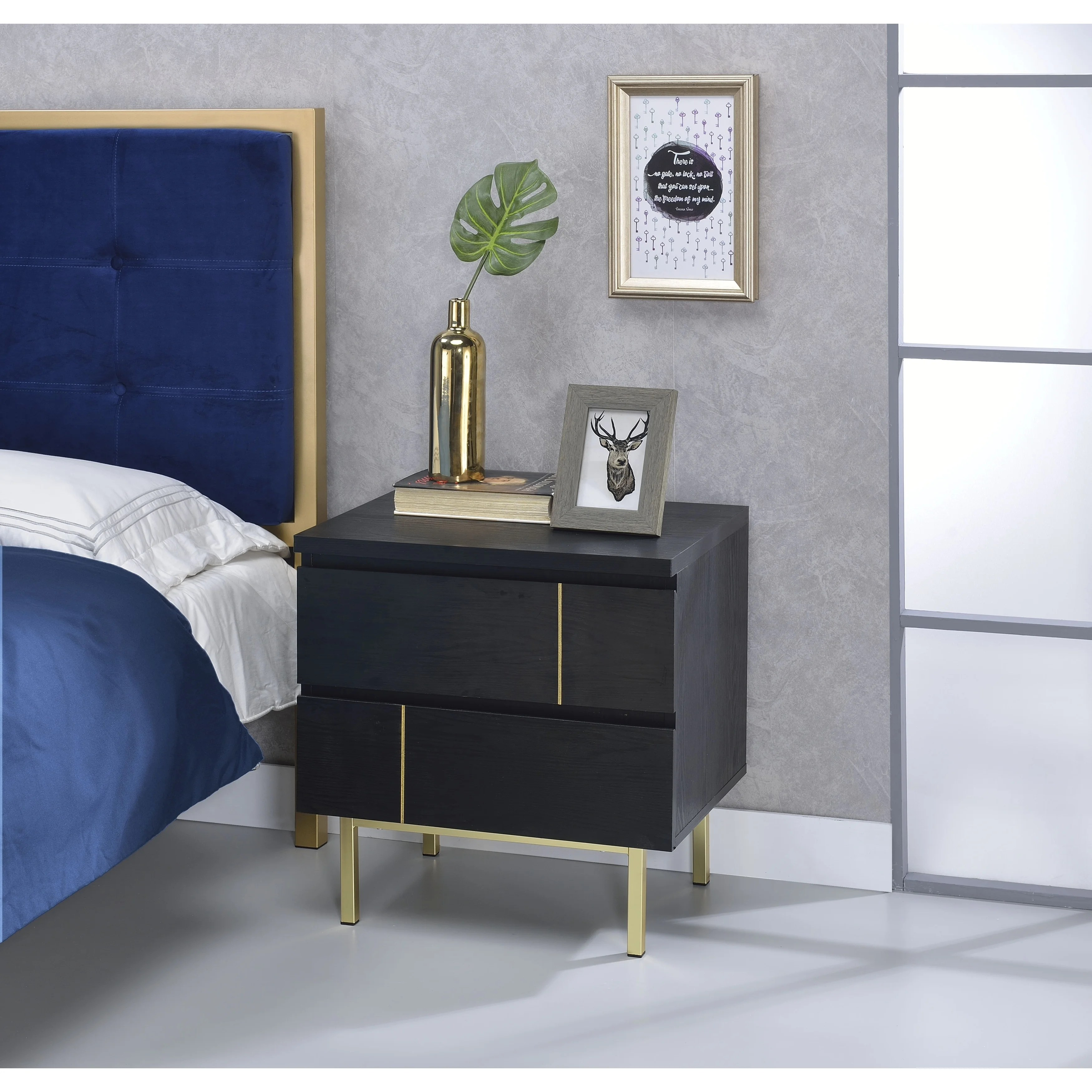 Two Drawers Wooden Nightstand With Metal Block Legs Black Gold