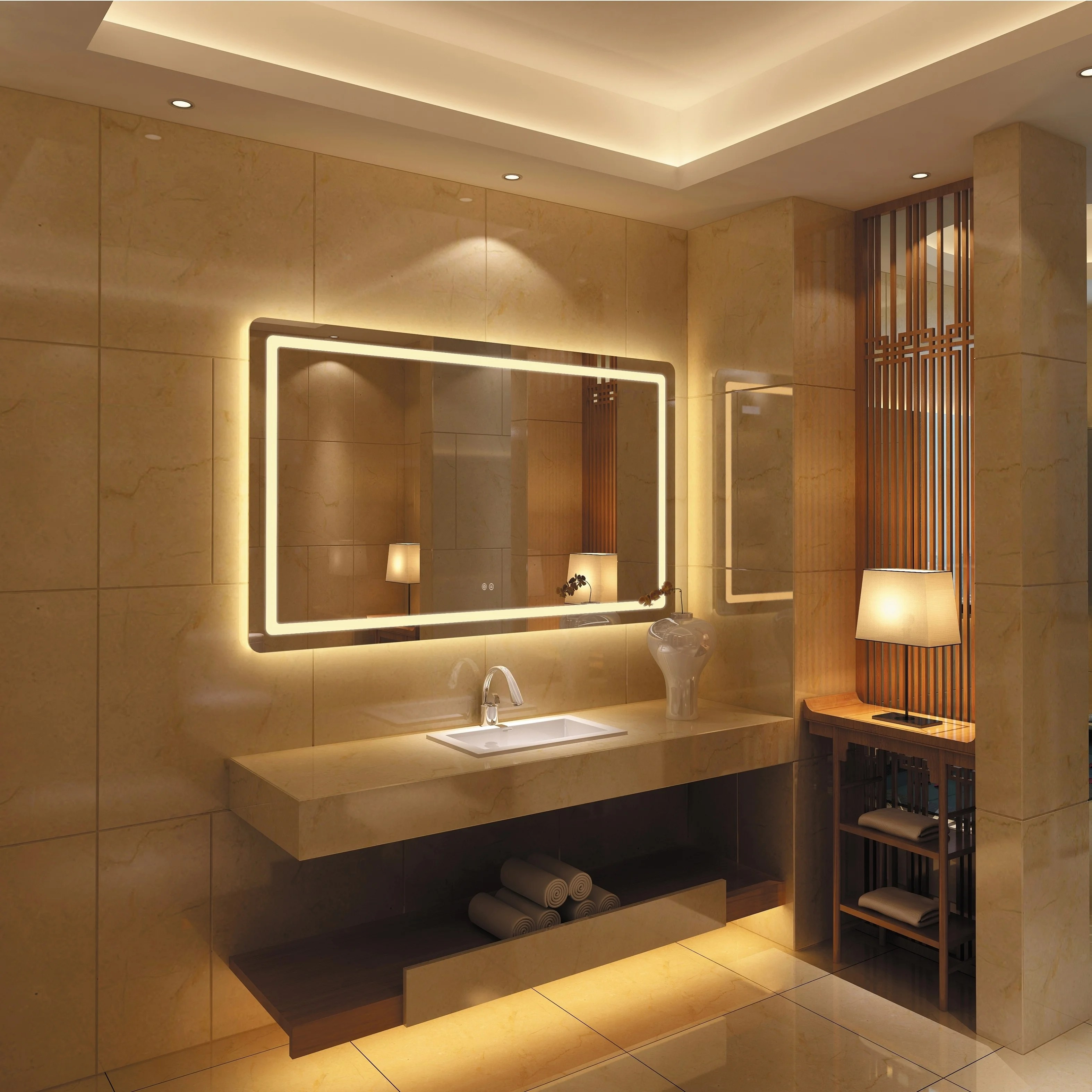 Shop Frameless Wall Mounted Led Bathroom Mirror Colorless Overstock 25435138