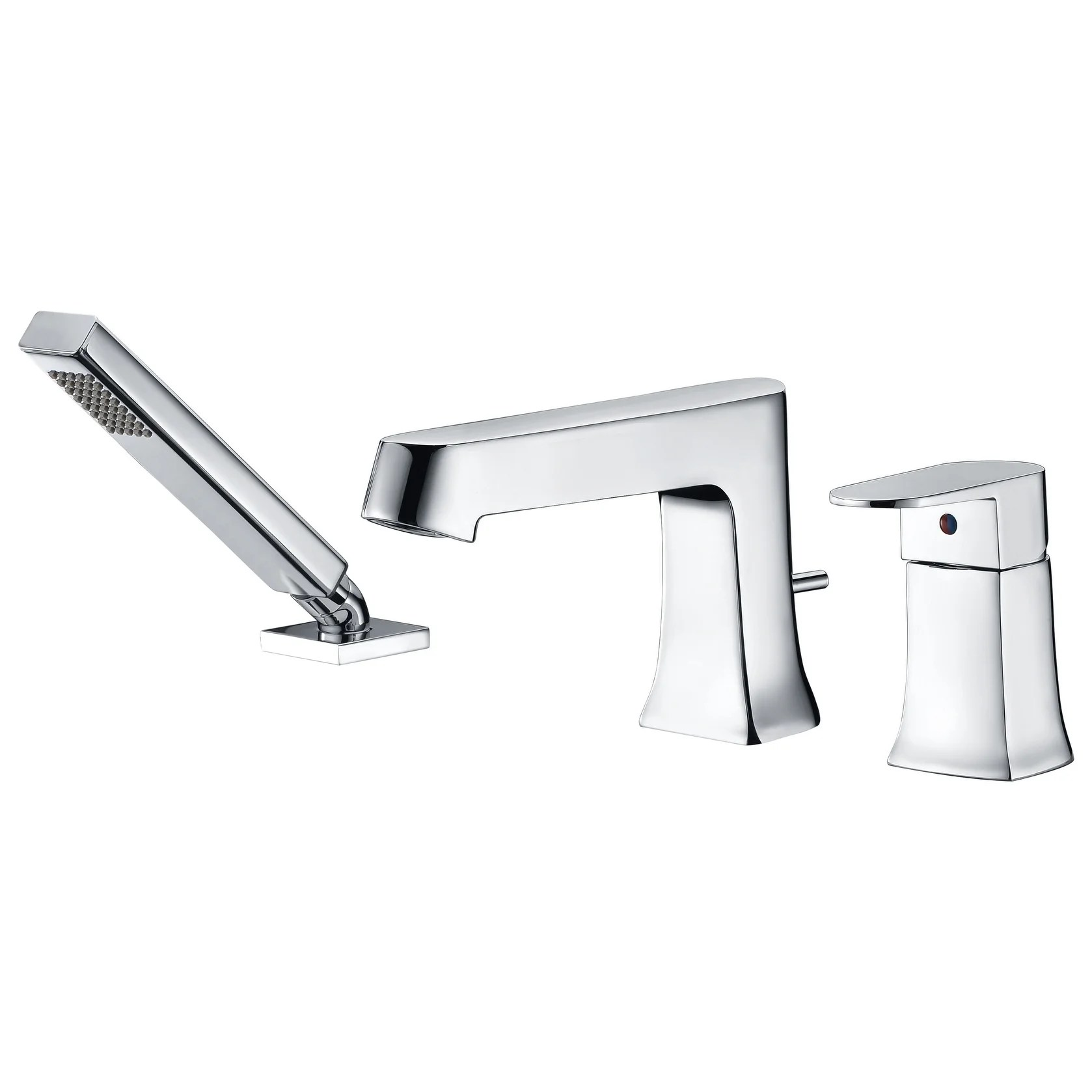 anzzi rin single handle deck mount roman tub faucet with handheld sprayer in polished chrome silver