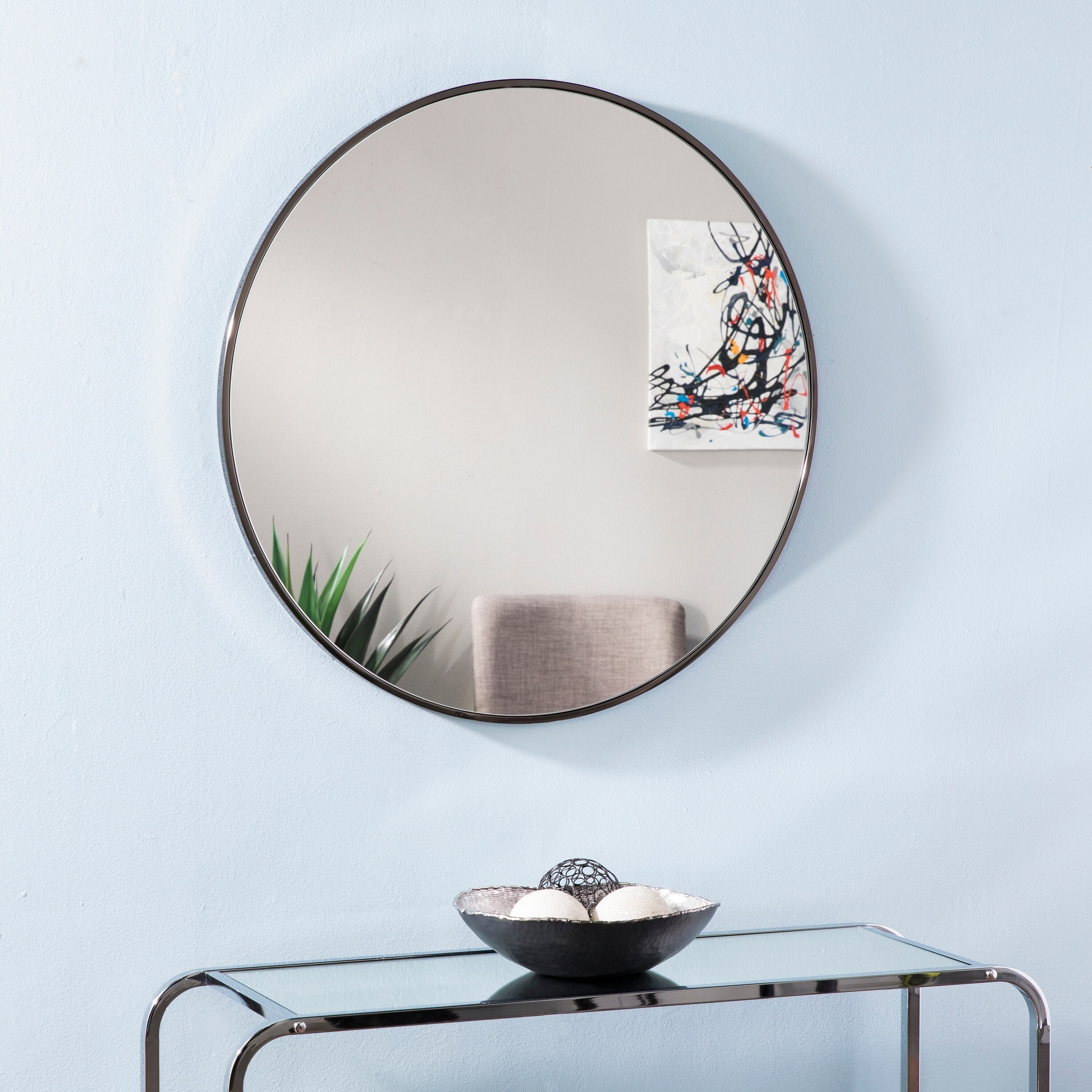 Silver Orchid Bech Round Decorative Wall Mirror