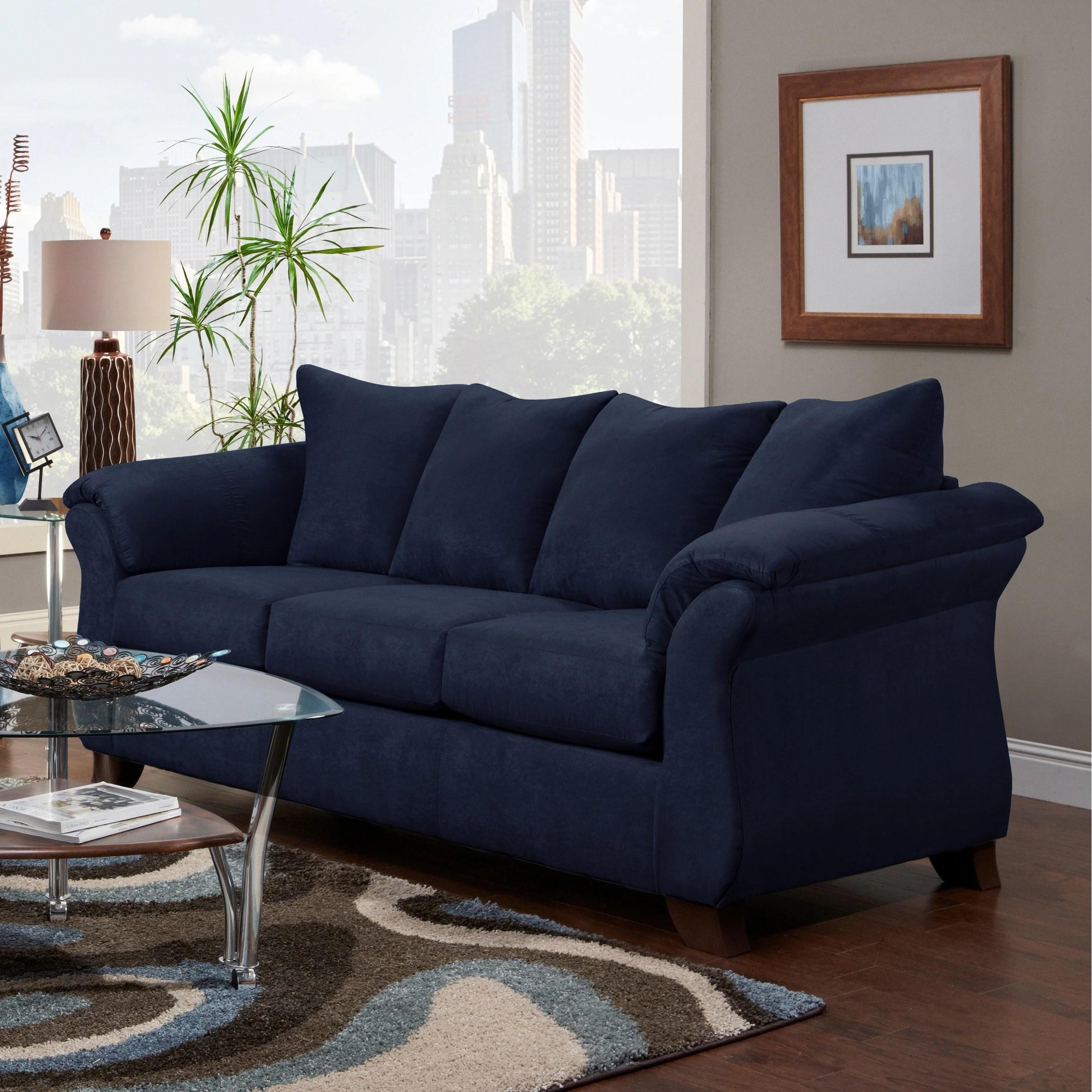 aruca navy blue microfiber pillow back sofa
