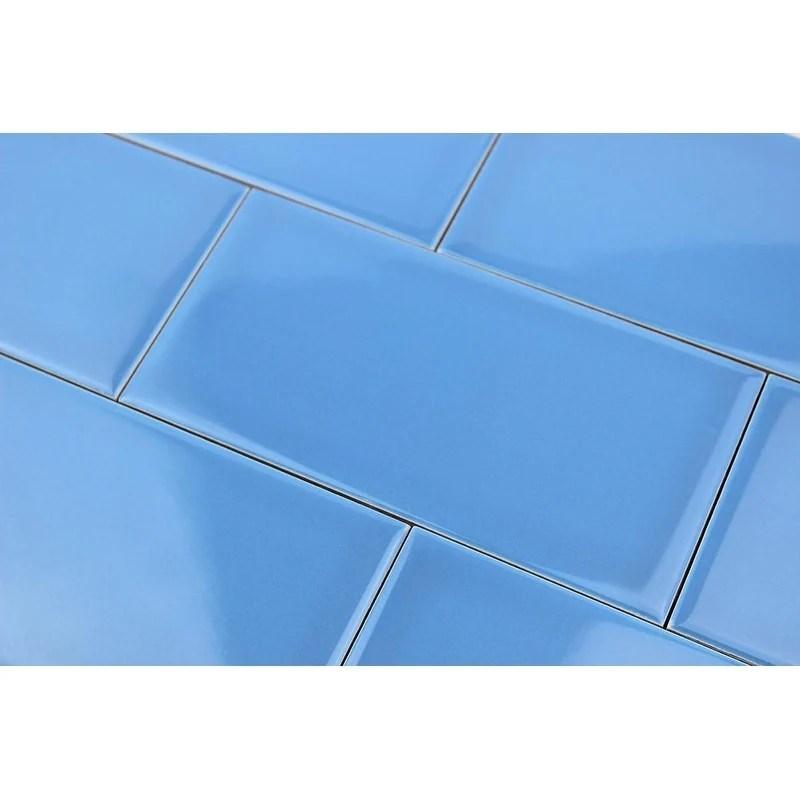 giorbello blue ceramic 3x6 subway tiles case of 14 5 sq ft