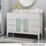 Holdame Contemporary 48 Wood Single Sink Bathroom Vanity With Carrera Marble Top By Christopher Knight Home Overstock 25716176