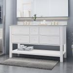 Shop Douvier Contemporary 60 Wood Double Sink Bathroom Vanity With Carrera Marble Top By Christopher Knight Home Overstock 25716181