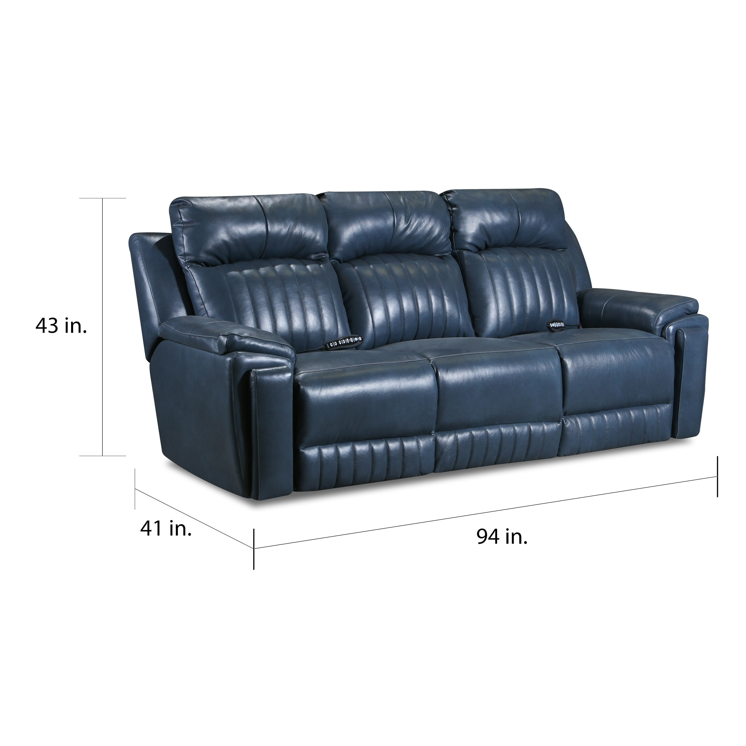Copper Grove Miramas Blue Leather Reclining Sofa With Powered Headrest Massage