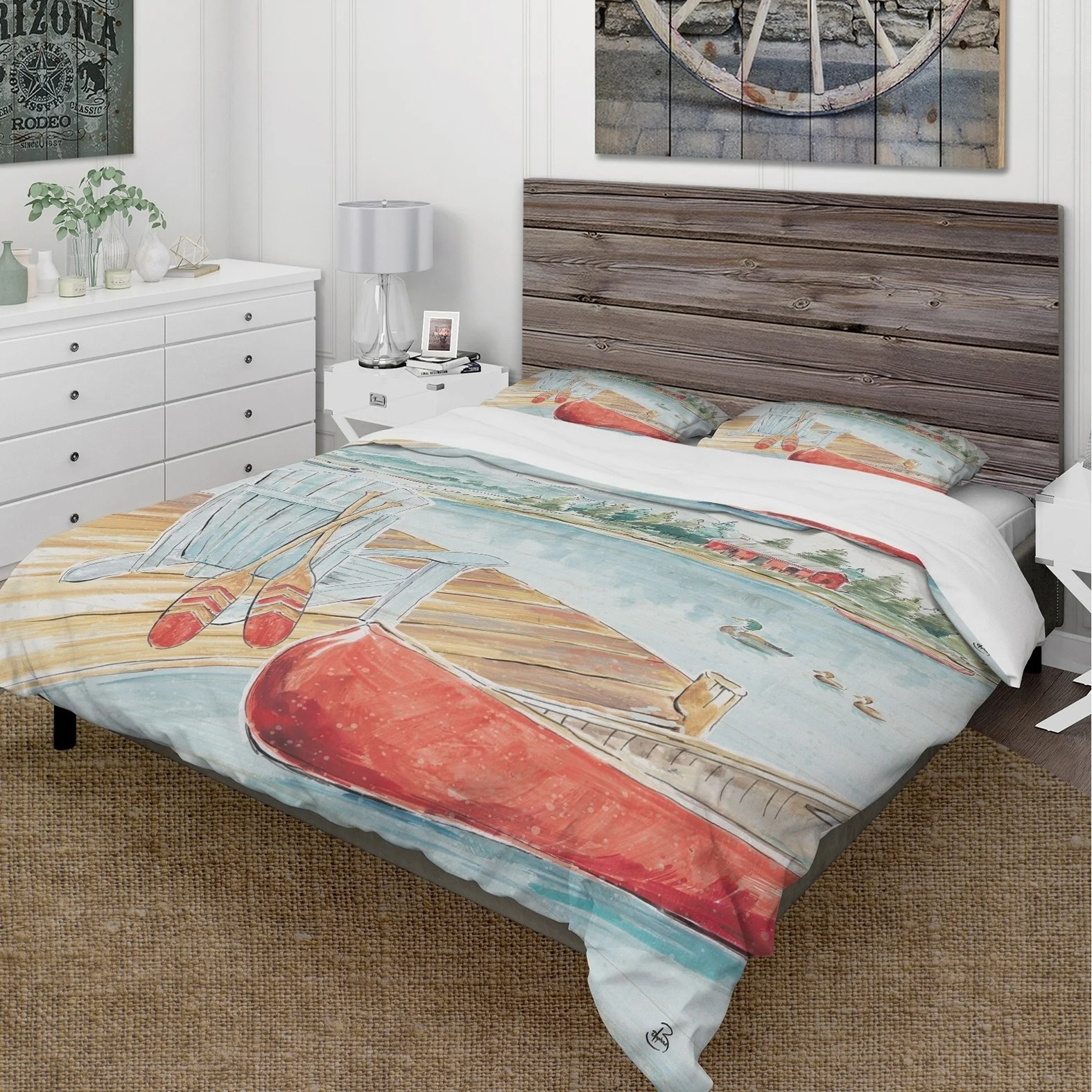 designart lake house canoes iii cottage bedding set duvet cover shams