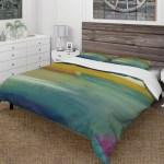 Designart Waterpainting Impression Of Indigo And Green Farmhouse Bedding Set Duvet Cover Shams Multi Color Overstock 25971623