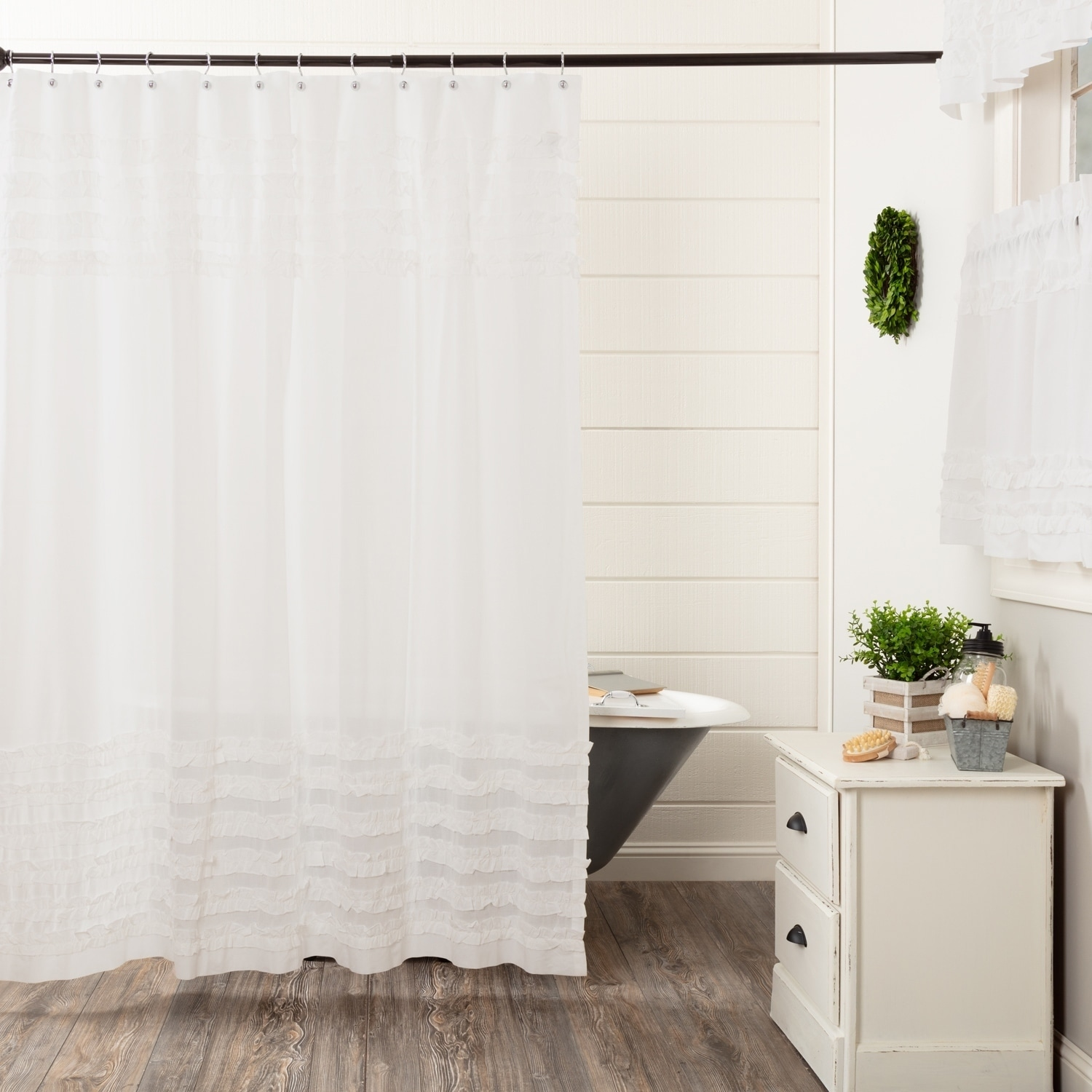 White Farmhouse Bath Vhc White Ruffled Sheer Petticoat Shower Curtain Rod Pocket Cotton Solid Color Ruched Ruffle Sheer