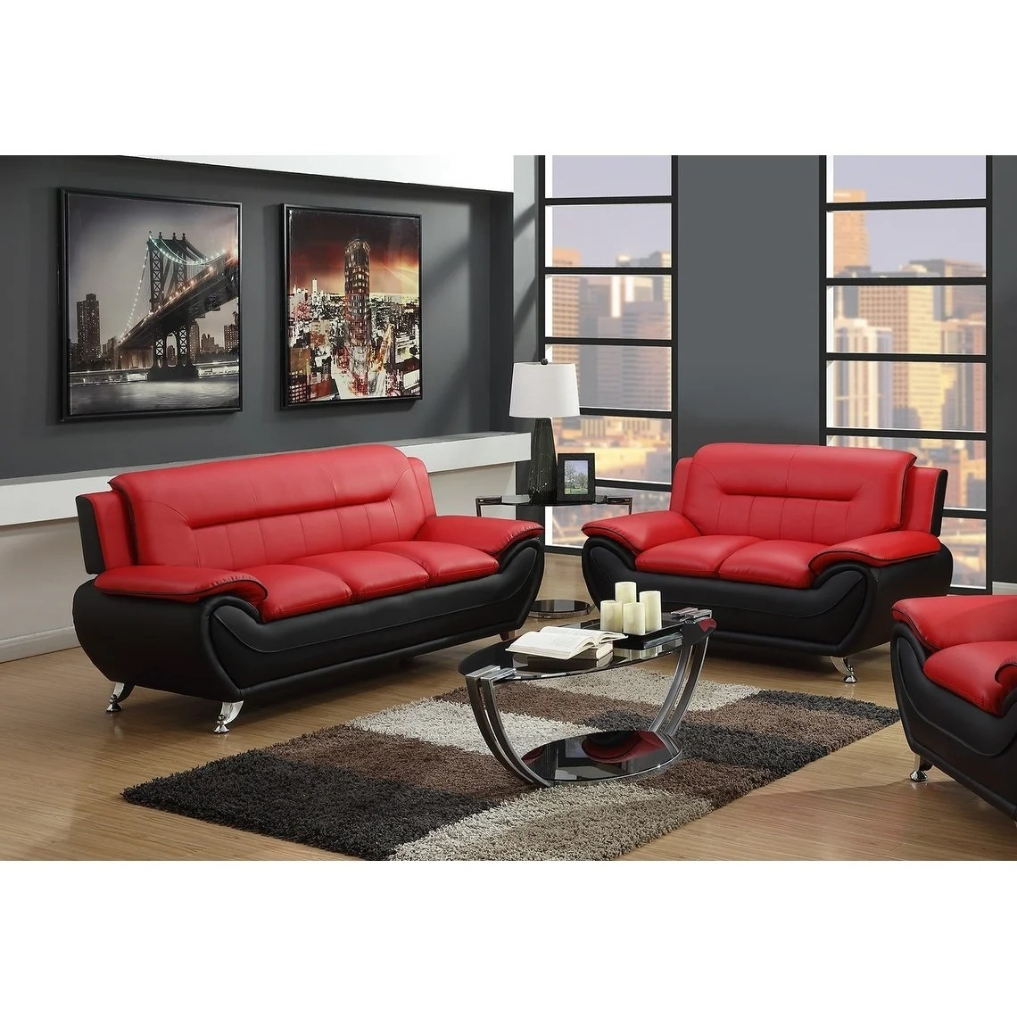 2pc red on black sofa loveseat set
