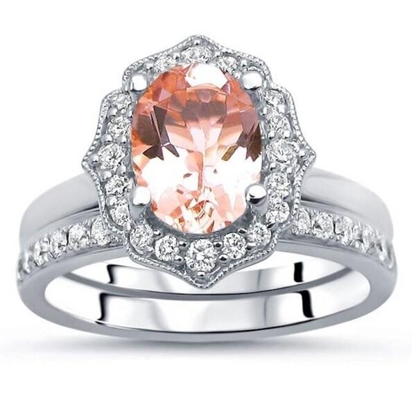 Shop 14k White Gold Oval Morganite 8x6mm 1/2ct Diamond ...