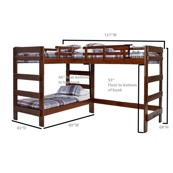 chocolate l shaped loft bed