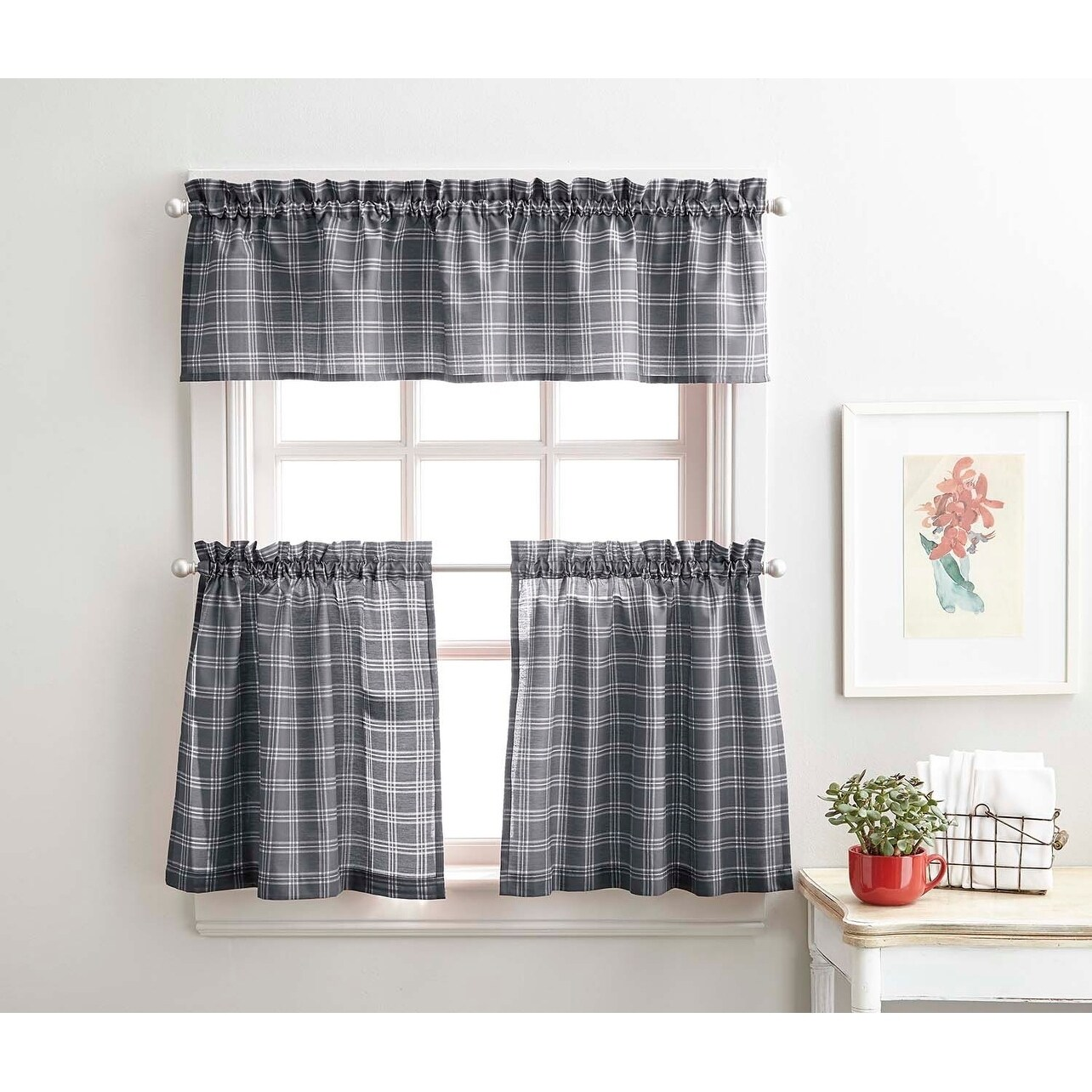 lodge plaid 3 piece kitchen curtain tier and valance set 36 3pc set