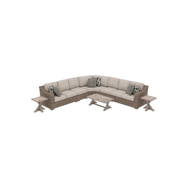 Shop Beachcroft 8-Piece Outdoor Sectional Set - Beige ... on Beachcroft Beige Outdoor Living Room Set  id=39300