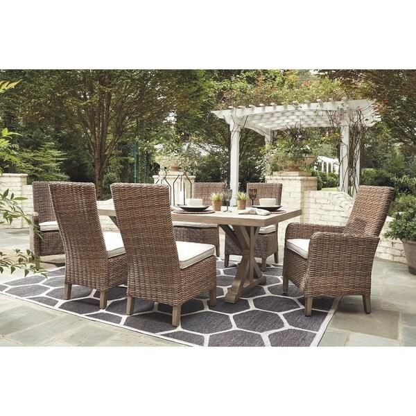 Shop Beachcroft 7-piece Beige Outdoor Dining Set with 2 ... on Beachcroft Beige Outdoor Living Room Set  id=25950