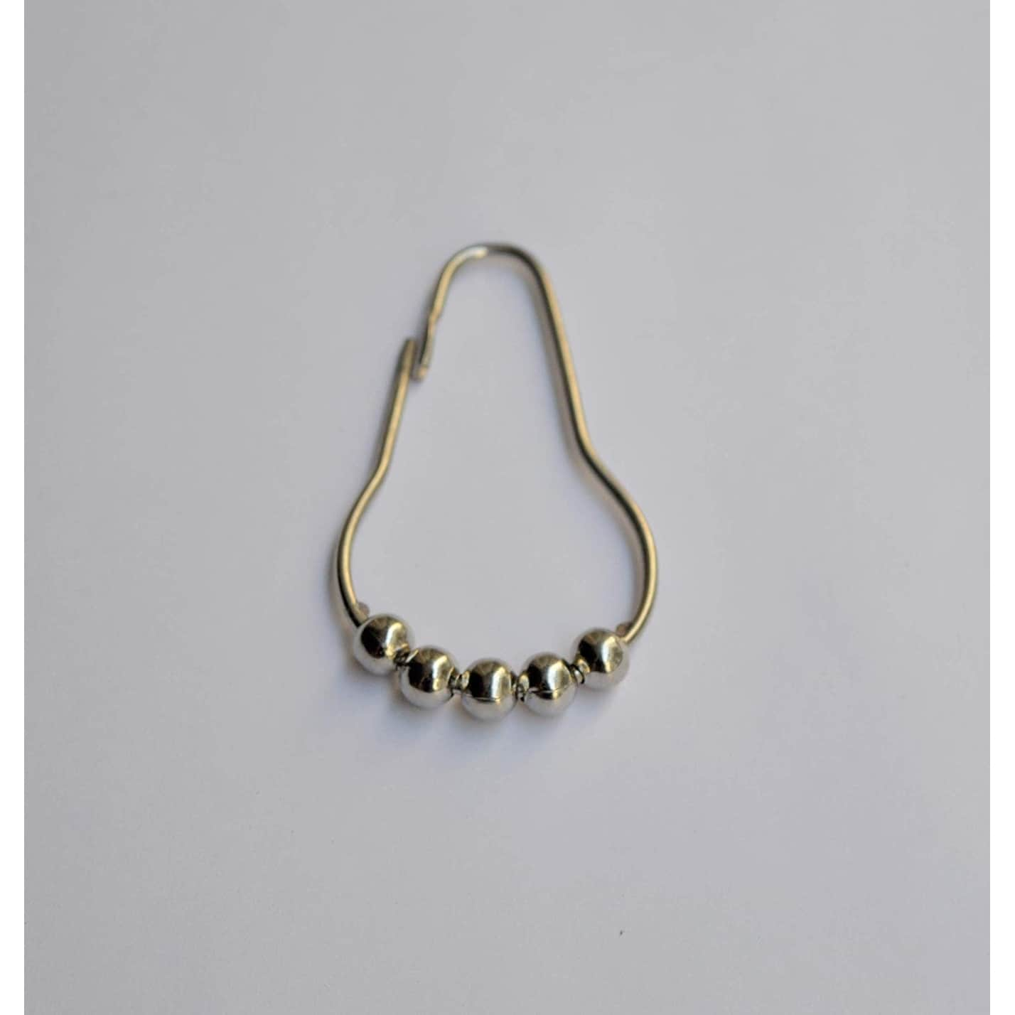 A1hc Stainless Steel Easy To Install Shower Curtain Rings Hooks 12 Piece Set 7 X 1 9 X 0 2 Nickel