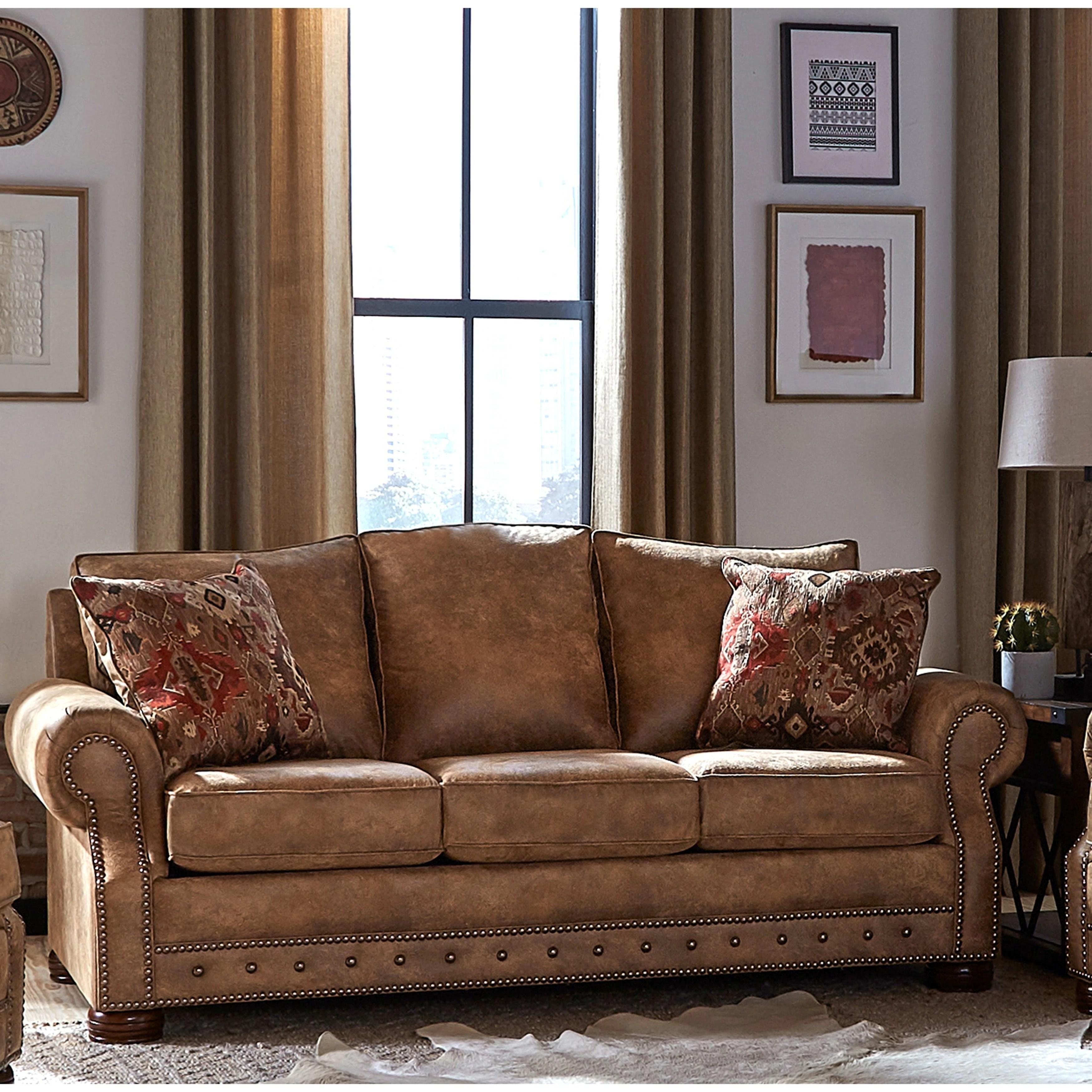 made in usa rancho rustic brown buckskin fabric sofa bed 37 x 86 x 40