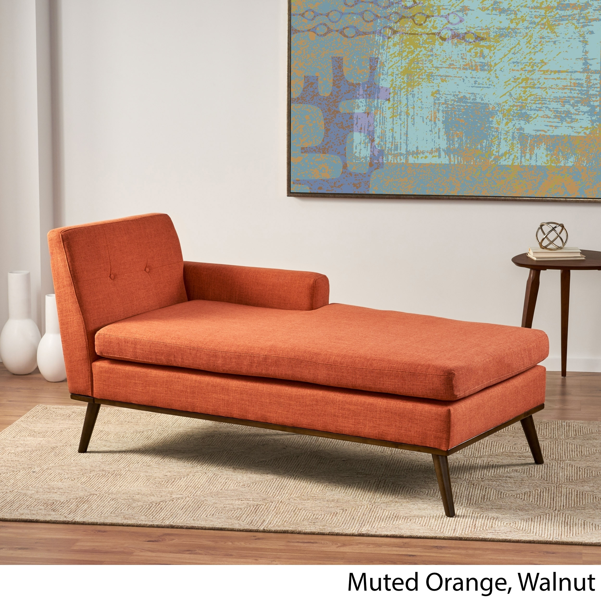 stormi mid century modern tufted chaise lounge by christopher knight home