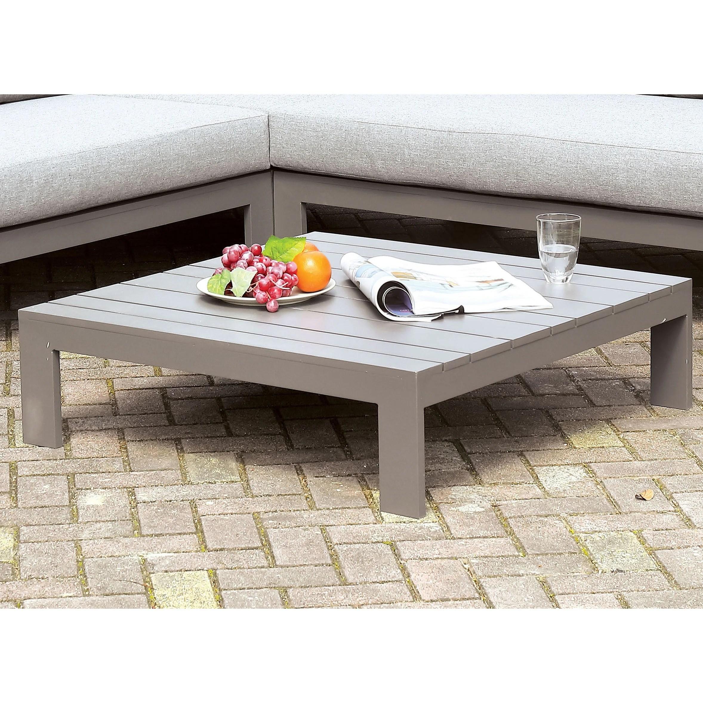furniture of america covelo grey patio coffee table