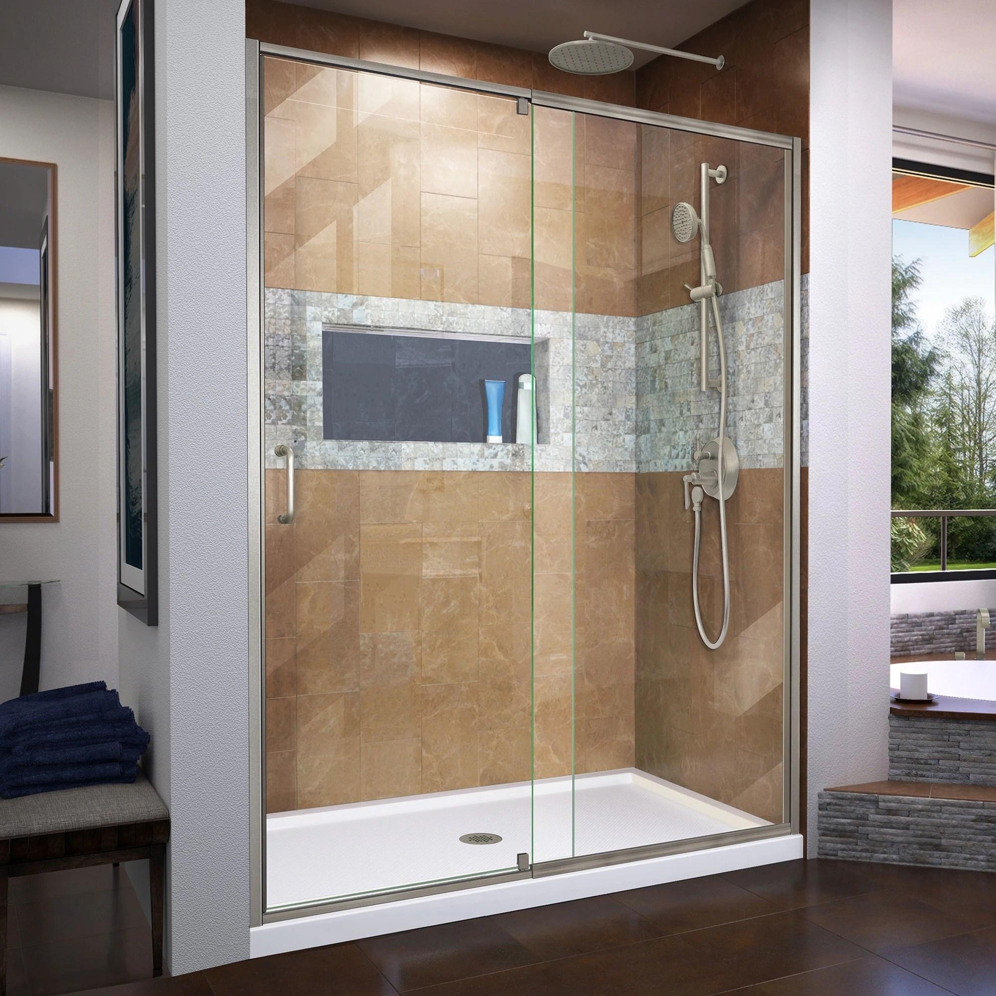 Dreamline Flex 56 60 In W X 72 In H Semi Frameless Pivot Shower Door 56 60 W