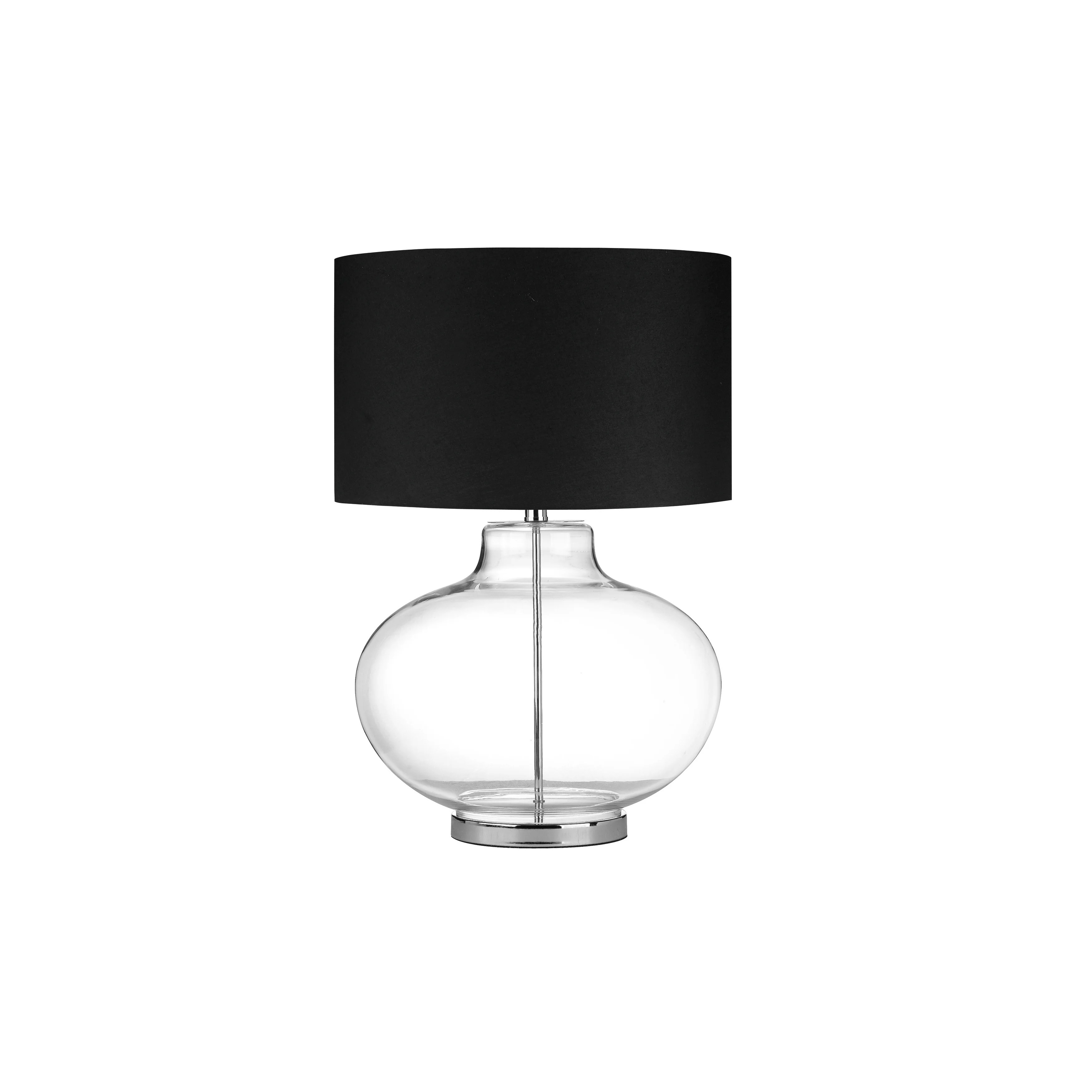 Glass Sphere Table Lamp With Metal Pole Running Inside And Drum Shade Black And Clear On Sale Overstock 27620281