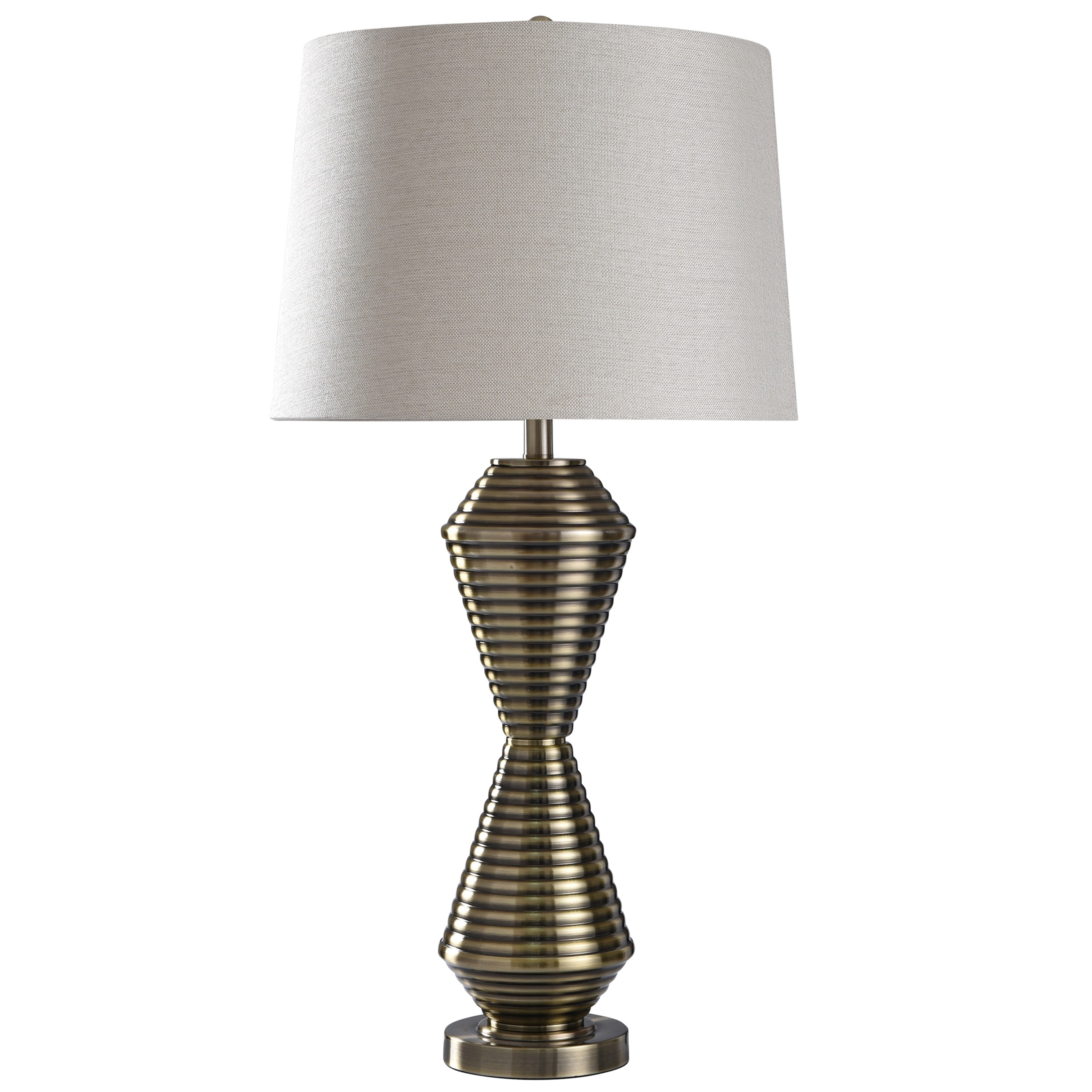 Shop Warwick Brushed Brass Metal Ribbed Hourglass Base Table Lamp Overstock 27704023