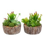 8 Tall Faux Succulents Set Of 2 Assorted Greenery Arrangements In Decorative Concrete Planters By Pure Garden Overstock 27741520
