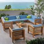 Shop Oana Outdoor 11 Seater Acacia Wood Sectional Sofa And Club Chair Set By Christopher Knight Home On Sale Overstock 27785011