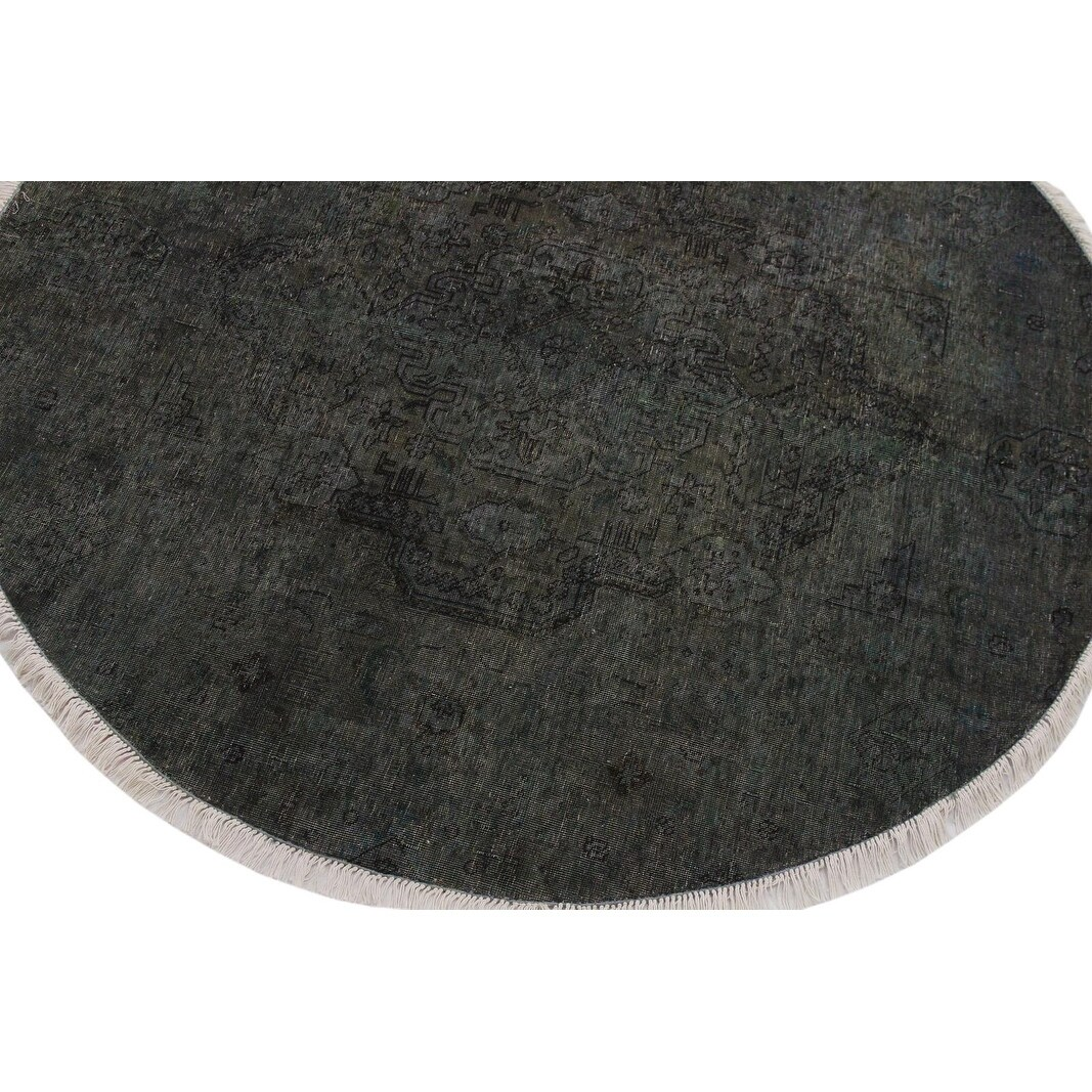 Vintage Distressed Gerardo Gray Black Round Rug 6 1 X 6 2 6 1 X 6 2
