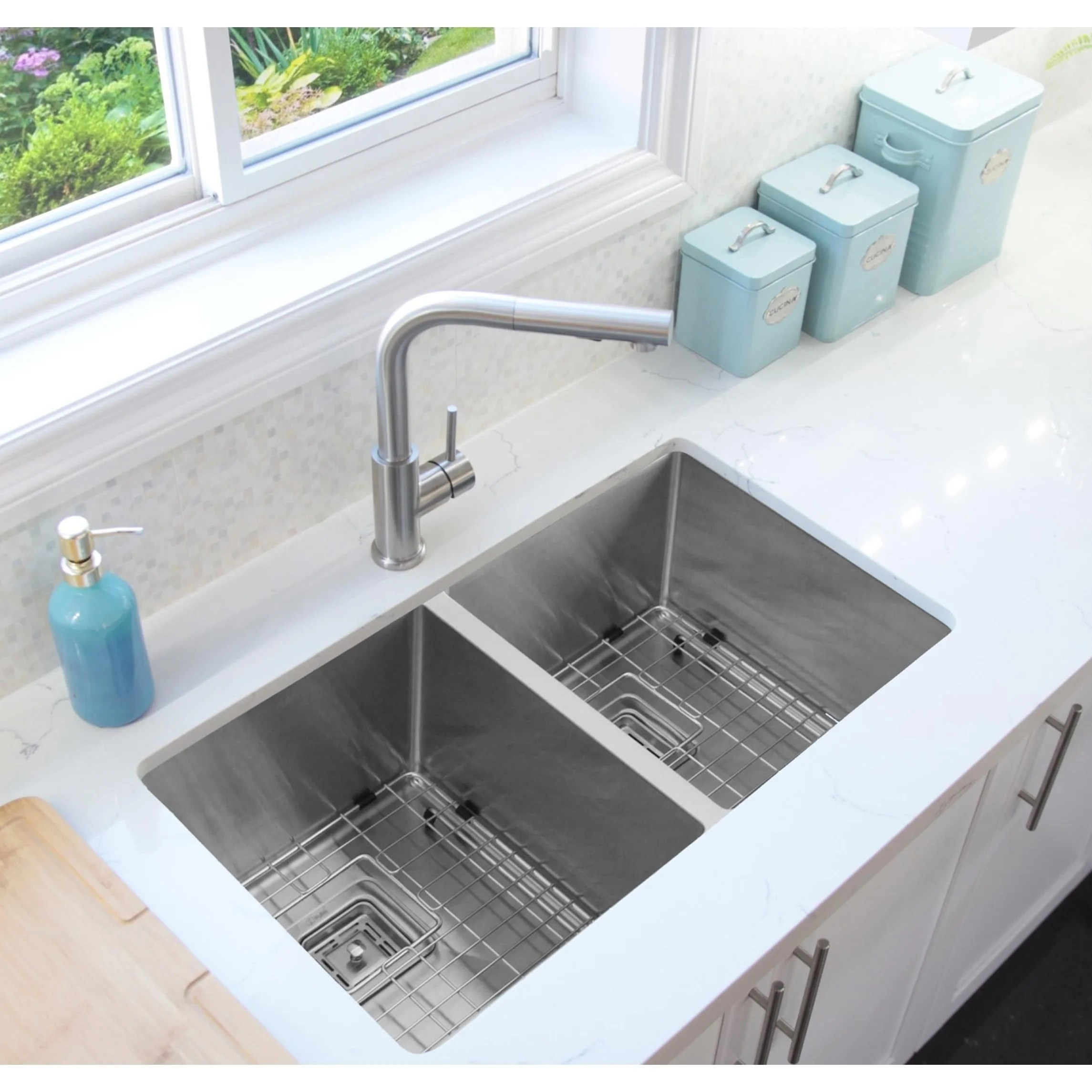 32 undermount double bowl kitchen sink 16 gauge stainless steel two grids two square strainers c232