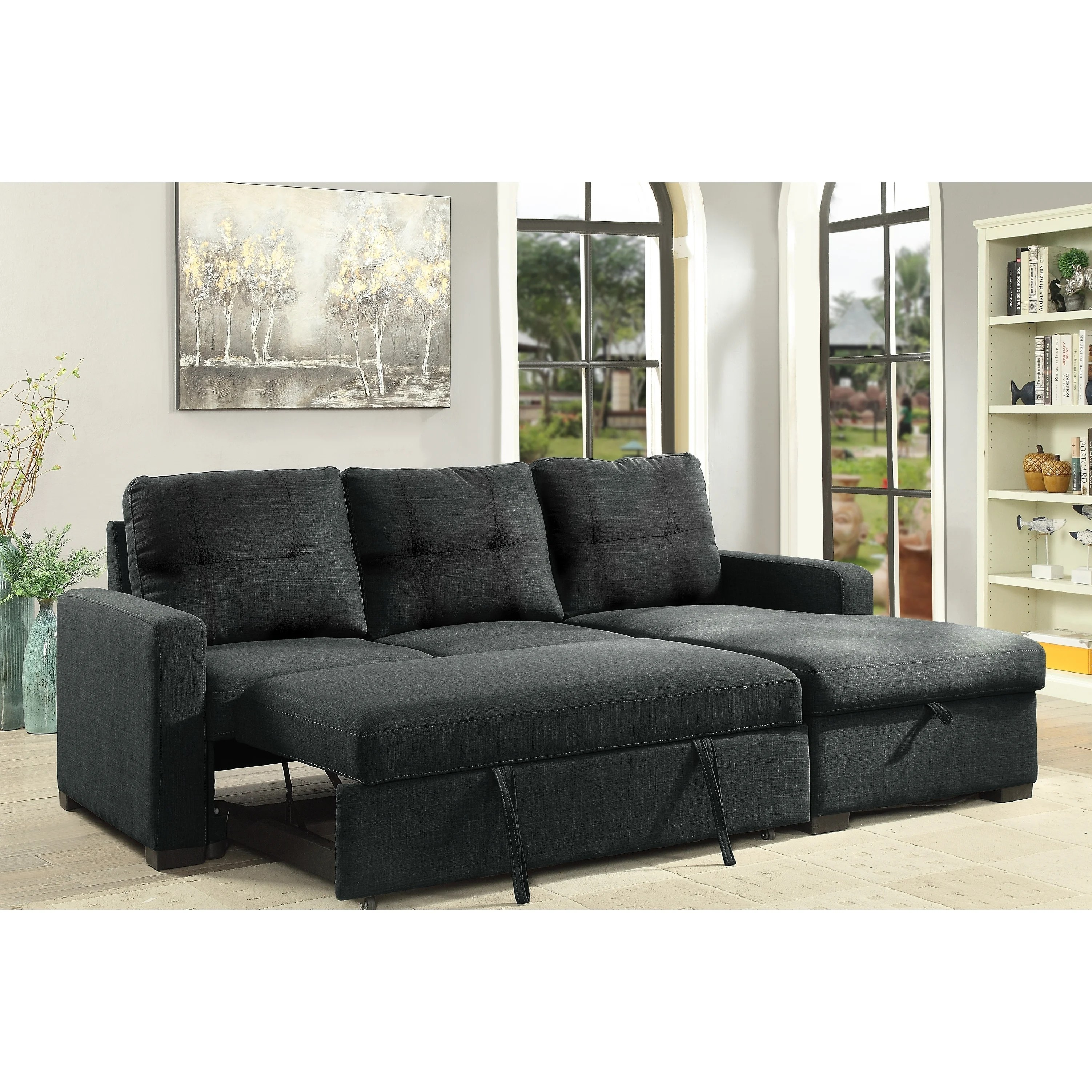 boris sectional with pull out bed storage chaise grey