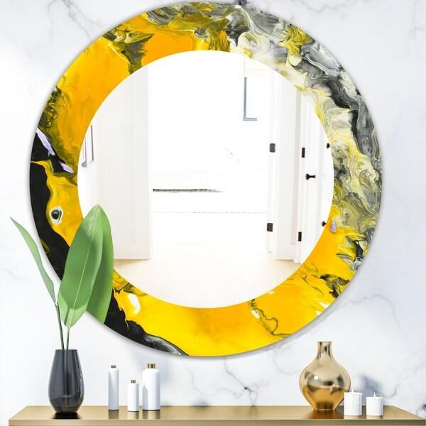 Shop Designart 'Marbled Yellow 3' Frameless Modern Mirror ...