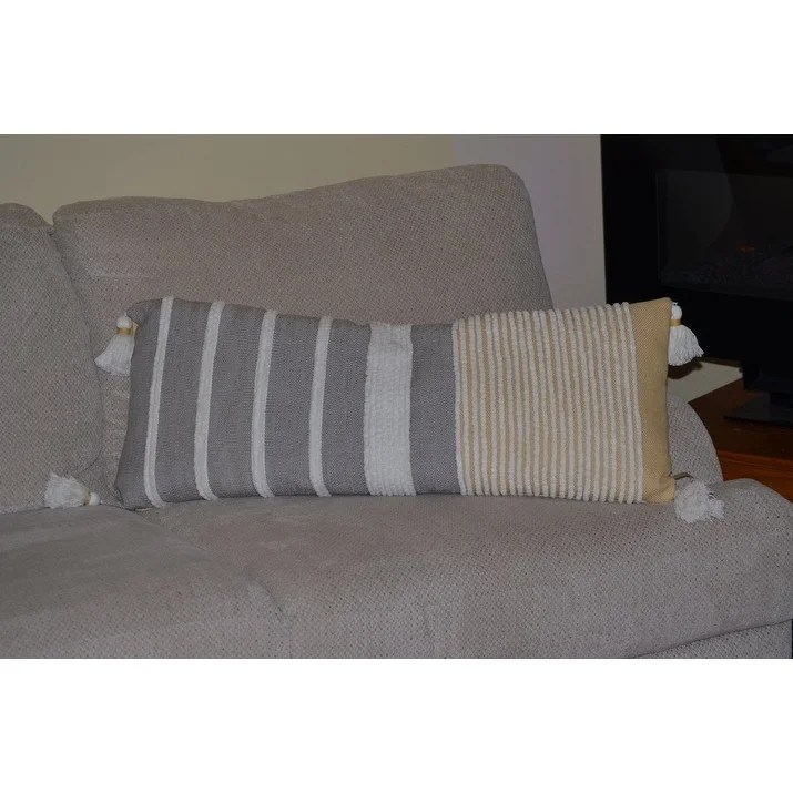 textured stripe throw pillow cover 14 x 36 for couch handloom woven