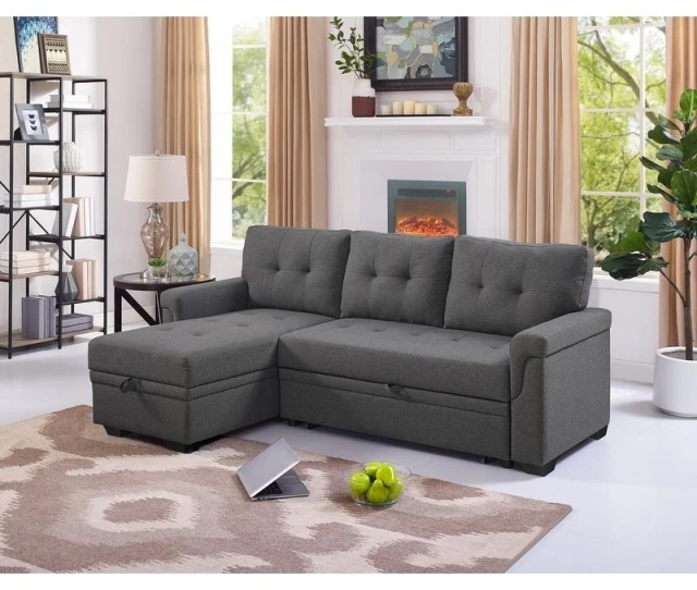 Lilola Lucca Linen Reversible Sleeper Sectional Sofa