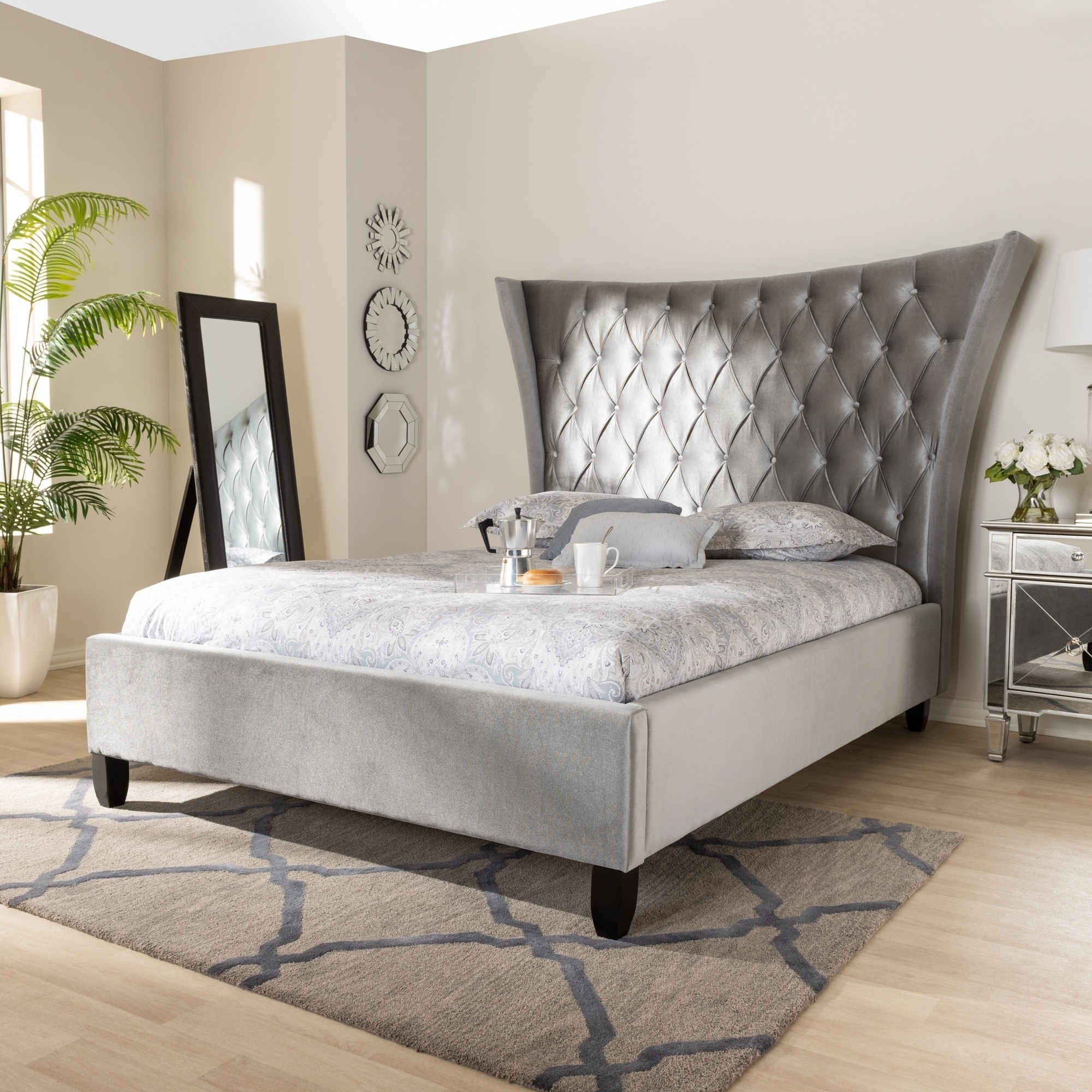 Shop Black Friday Deals On Glam Velvet Fabric Platform Bed With Tall Wingback Headboard Overstock 28031994