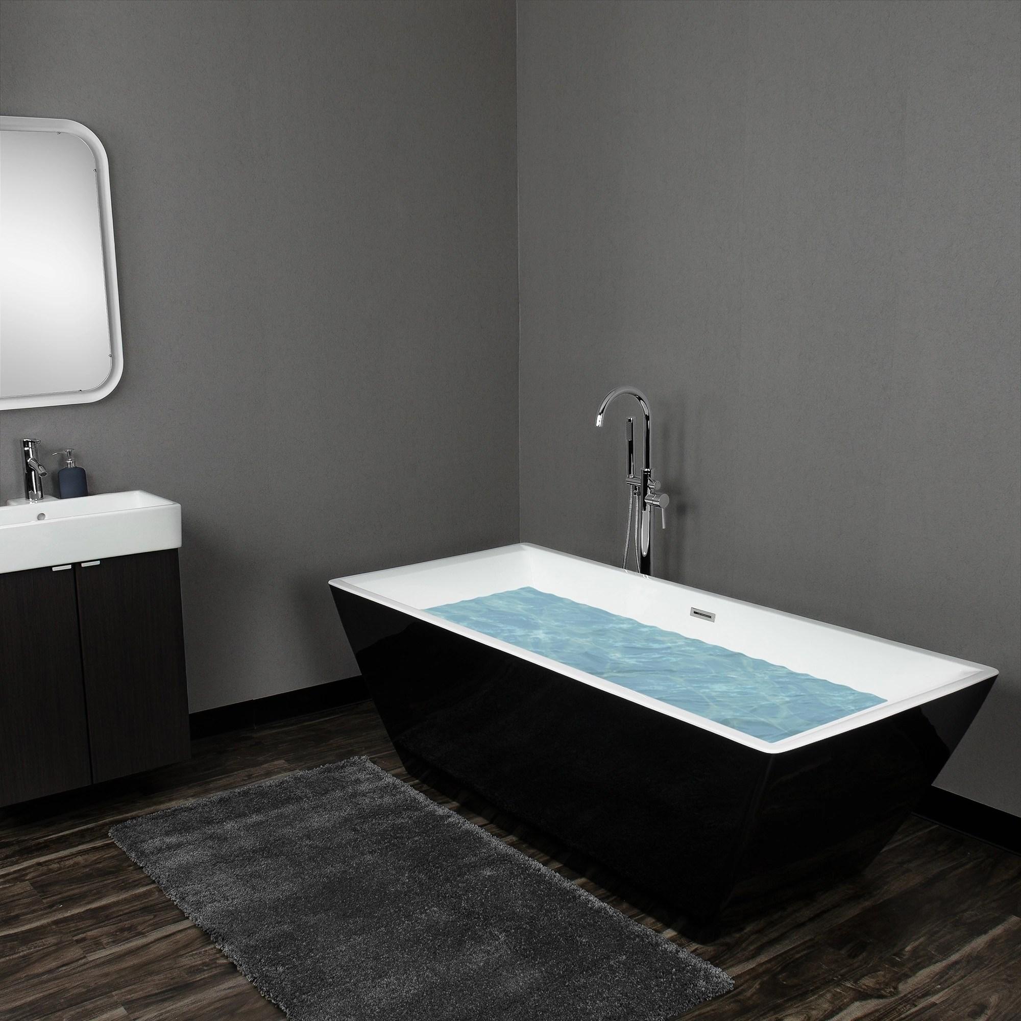 Akdy 71 White Acrylic Modern Square Soaking Shower Freestanding Bathroom Bath Tub