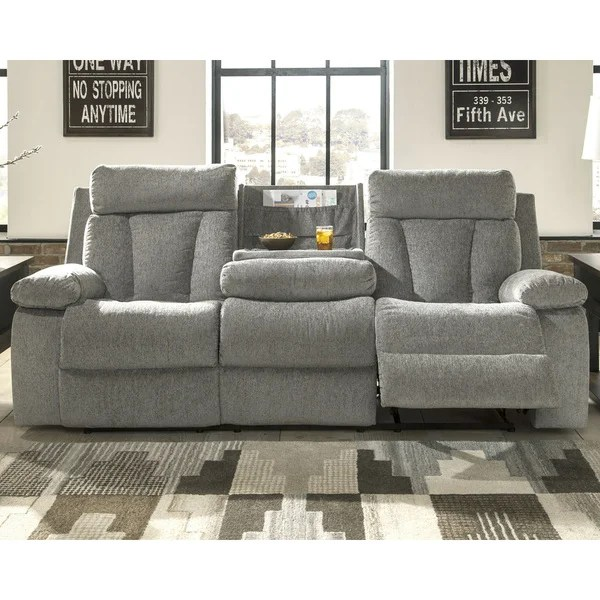 Shop Mitchiner Contemporary Reclining Sofa With Drop Down Table Fog Overstock 28082478