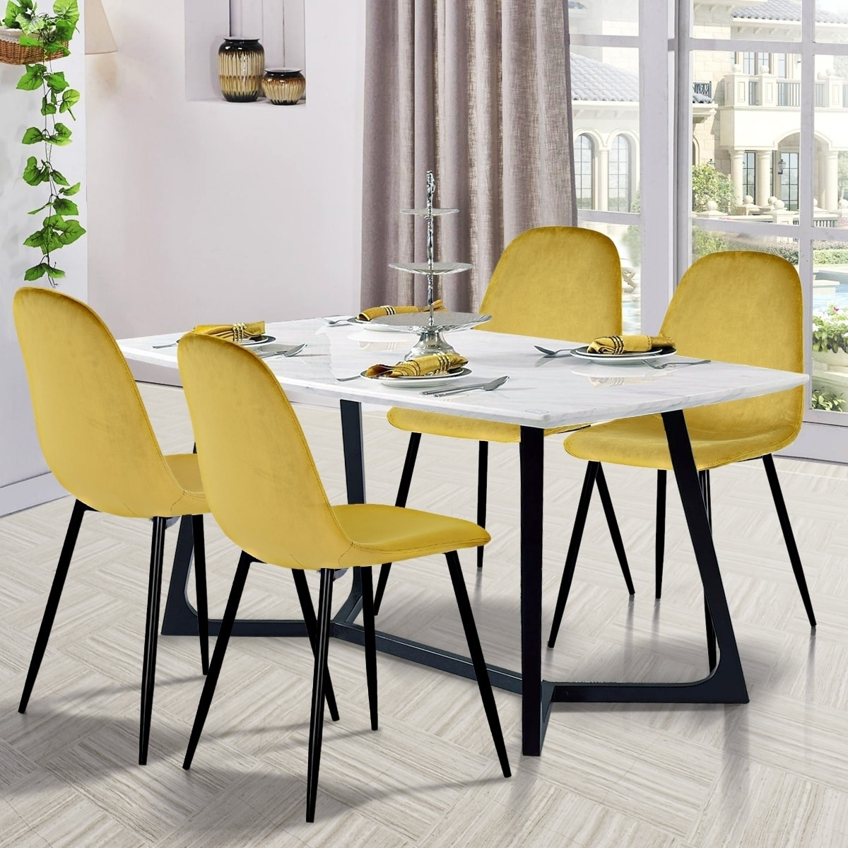 Set Of 2 Modern Dining Chairs Yellow Soft Velvet Seat Cushion Covers Metal Legs Isp Paris
