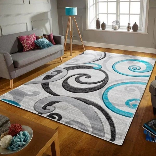Not sure which size rug to use in your living room? Shop Swirls Contemporary Modern Living Room Bedroom Soft ...