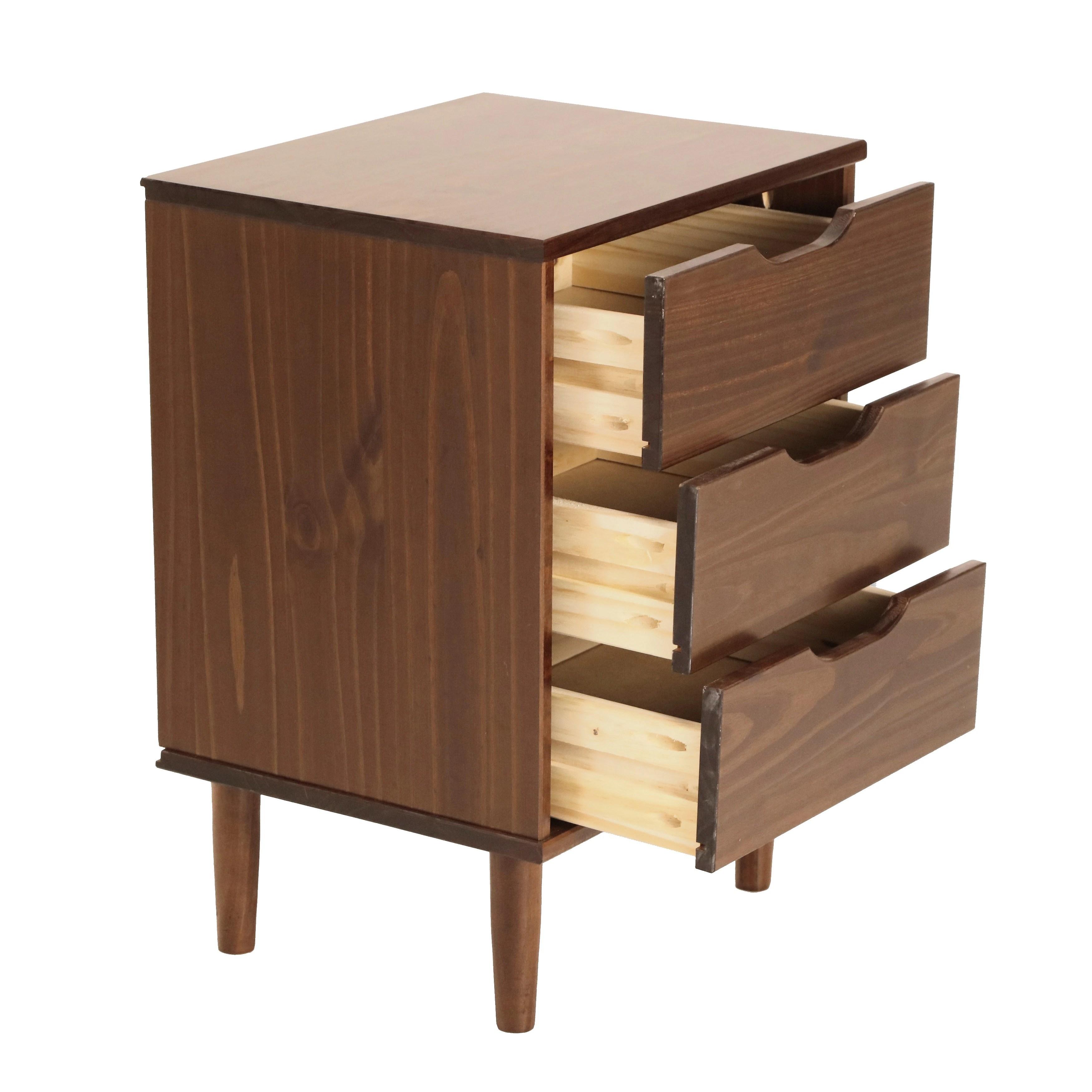 Carson Carrington Uddberga 3 Drawer Wood Bedside Nightstand