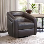 Shop Black Friday Deals On Desi Contemporary Genuine Leather Swivel Accent Chair Overstock 28228236 Espresso