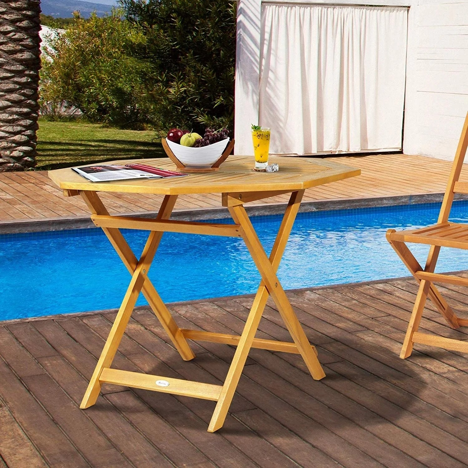 outsunny 39 acacia wood octagon folding outdoor bistro table with umbrella hole