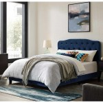 Dayton Full Size Blue Velvet Platform Bed With Button Tufted Headboard Overstock 28247652