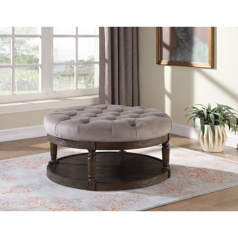 best master furniture upholstered round tufted ottoman coffee table