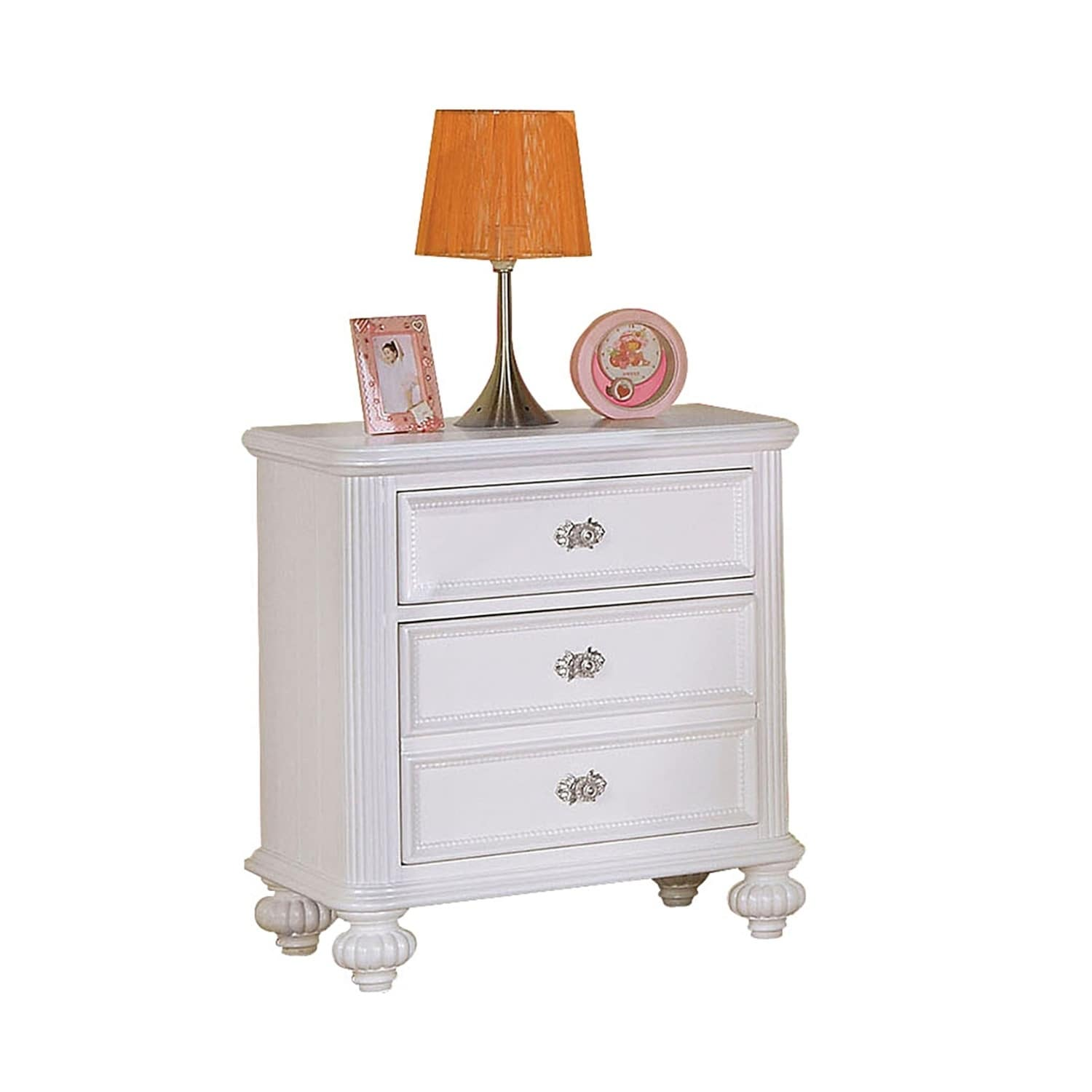 Transitional Wooden Three Drawers Nightstand With Round Glass Knobs White