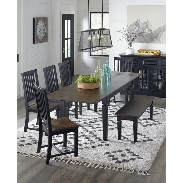 Shop Aureille 54 Inch Black Rubbed Dining Bench With Dark Walnut Seat On Sale Overstock 28274811