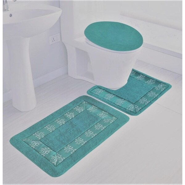 3 piece polyester bathroom rug set teal blue