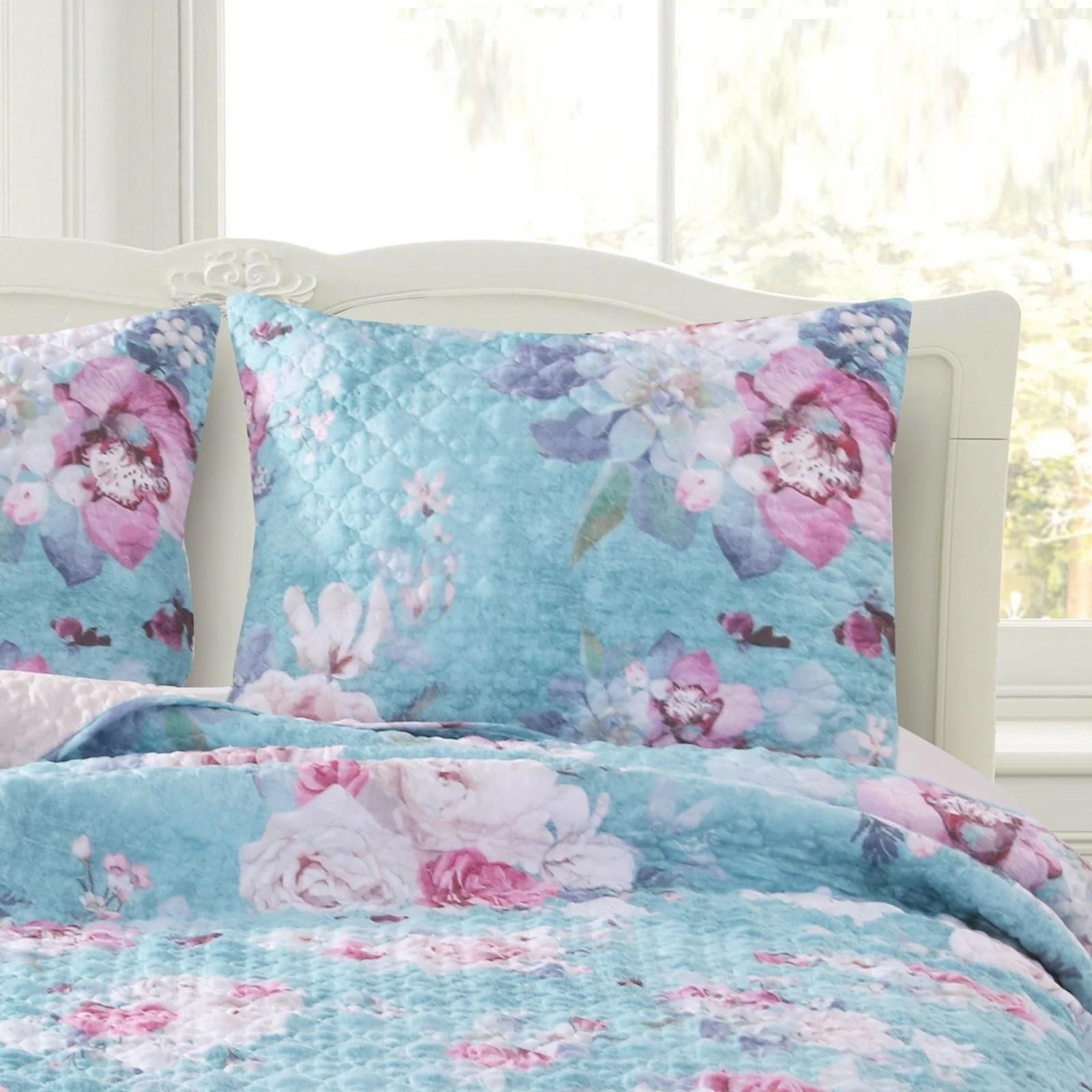barefoot bungalow avril turquoise blue pillow sham set set of 2 shams