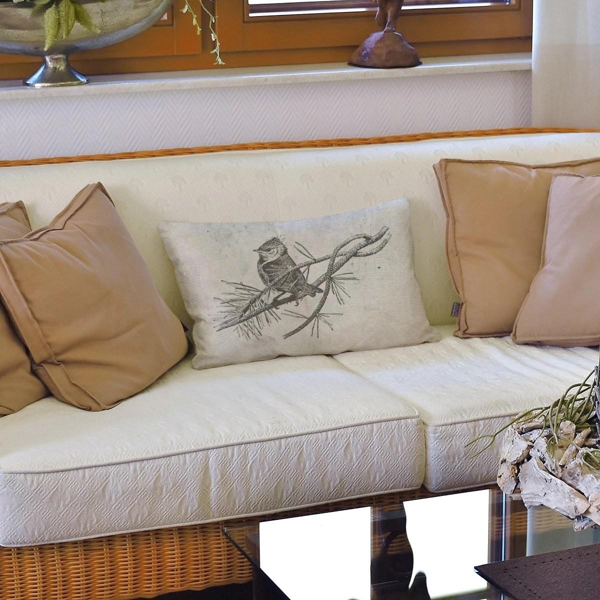 vintage black white bird lumbar pillow